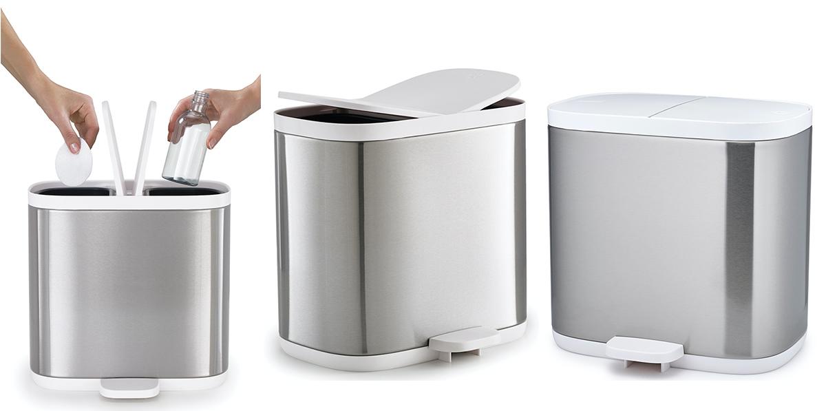 poubelle de recyclage en inox split 6 de joseph joseph dynamic seniors. Black Bedroom Furniture Sets. Home Design Ideas
