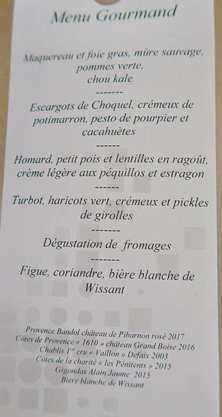 Le menu de La Liégeoise