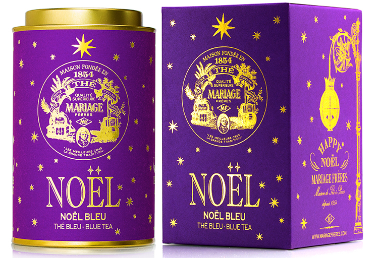 Noël Bleu : Thé bleu festif étoilé d'Or et d'Argent