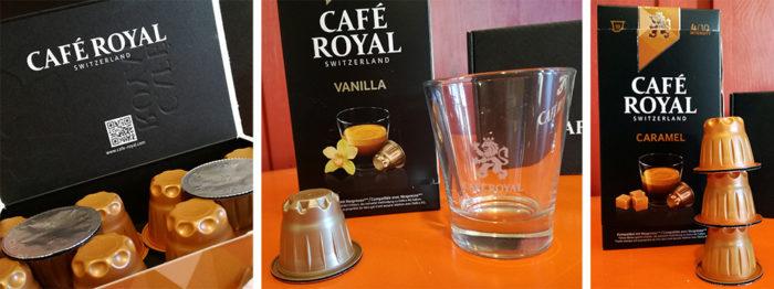Café Royal offre un choix de 25 variétés de café : Espresso, Extra Dark, India, Guatemala… et cafés aromatisés à la noisette, à l'amande, au caramel et à la vanille.