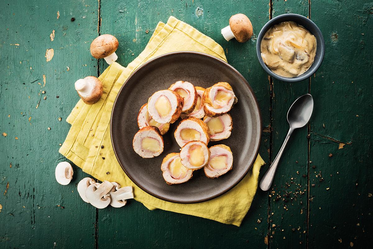 Ballotines de pintadeaux champignonset à la raclette RichesMonts.