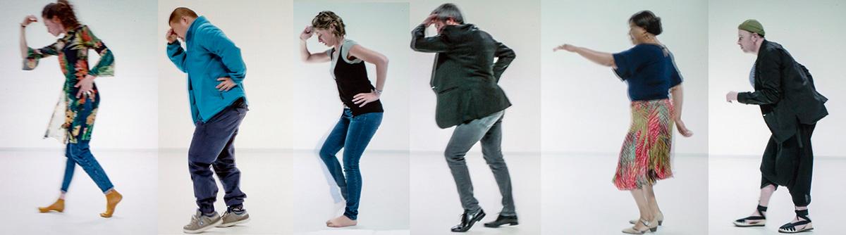 Une trentaine de danseurs du Moonwalk traversent l'écran successivement de Jérôme Bel…