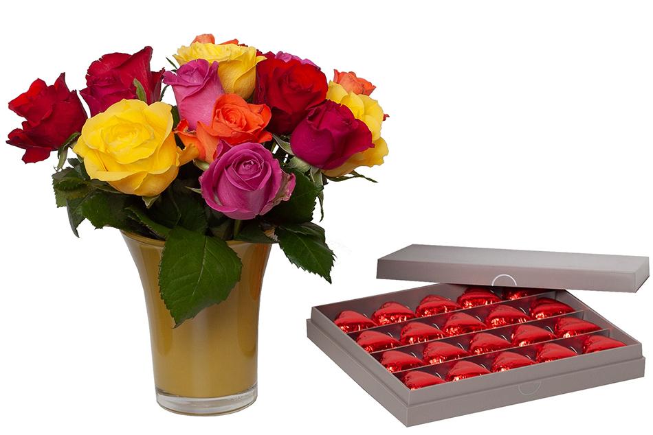Le duo chocolats et roses