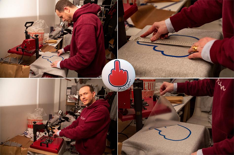 Thibault Courtois d'Aubery met la main à la patte dans l'atelier de la boutique pour finaliser les produits aux couleurs de Ptit Con. © Caroline Paux
