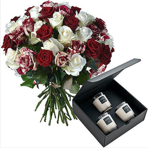 Le duo bougies et roses