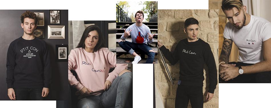 Les t-shirt et sweats se déclinent en bleu marine, rose, gris, noir, blanc et rayé bleu marine. © Ptit Con