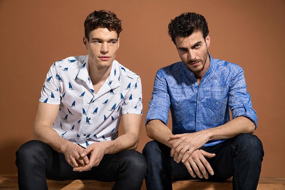 Chemises Blanches et bleus Naracamicie