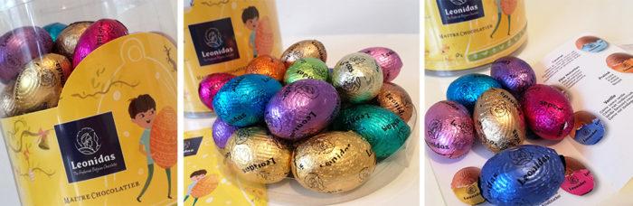 Leonidas fait découvrir un assortiment de petits œufs en chocolat.