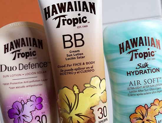 Hawaiian Tropic présente ses quatre nouveautés pour un été ensoleillé en toute sécurité : BB Cream, Air Soft Silk Hydration, Lip Balm et Duo Defence.