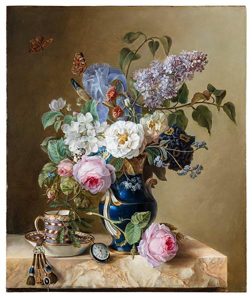 Marquise de Grollier bouquet tasse montre