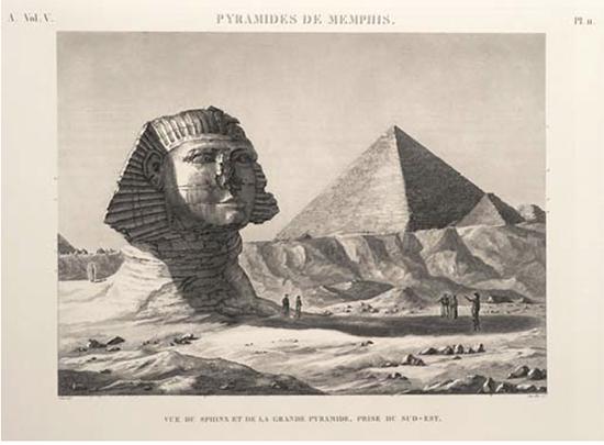 Friedrich Schroeder, Vue du sphinx et de la grande pyramide, prise du sud-est, 1809-1822,