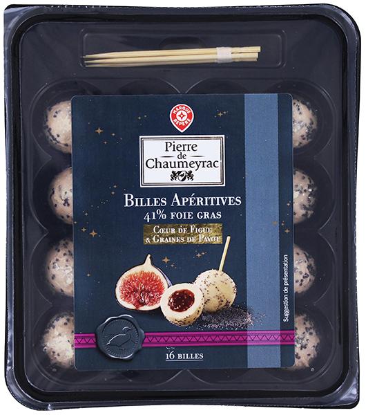 Billes de foie gras coeurde figue et graines de pavot