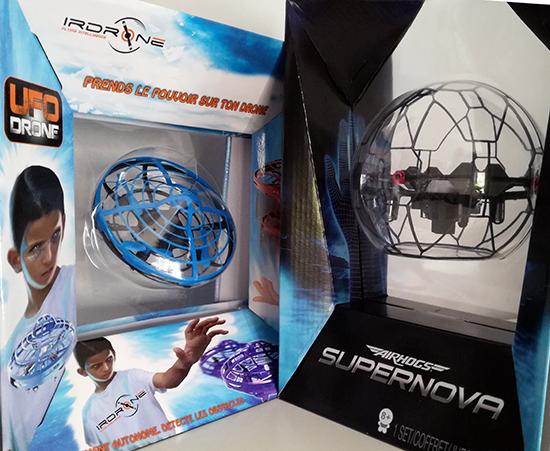 IrDrone et AirHogs proposent, chacune, un drone pour les enfants. Equipés d'une cage de protection, UFO Drone et Supernova se pilotent avec les… mains.