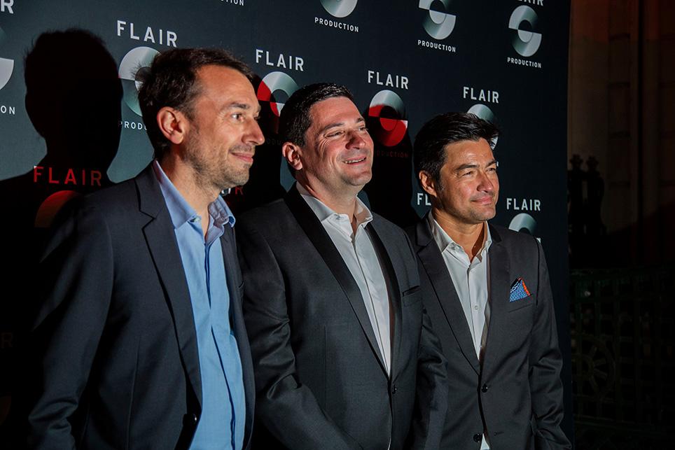 Les trois associés de Flair Production, Guillaume Roy, Christophe Février et Laurent Ramamonjiarisoa