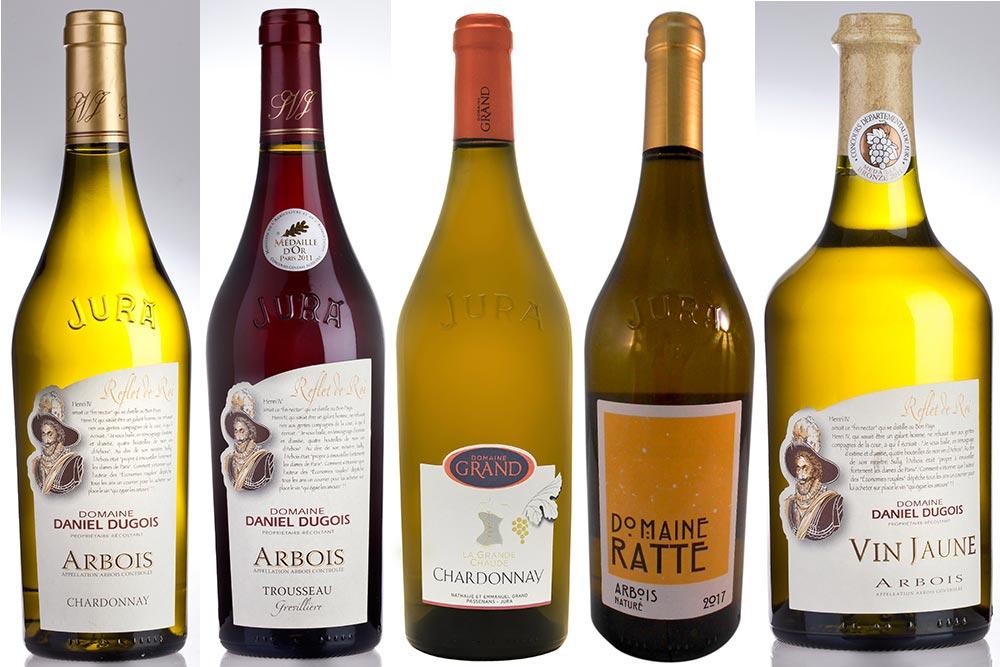 Bouteilles de vins du Jura