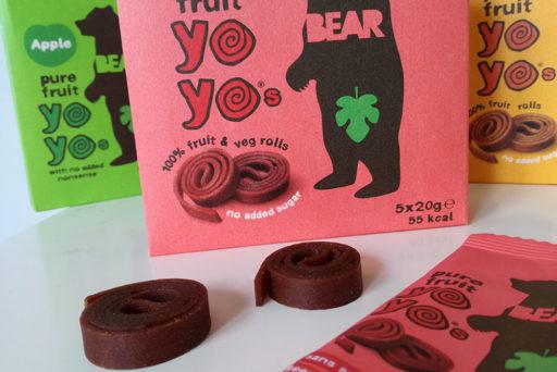 Les yoyos Bear - rouleaux de fruits purs - se déclinent en quatre saveurs.