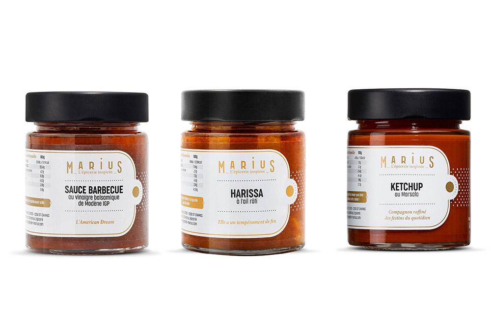 Trois des nouveautés de la Maison Marius, la sauce barbecue, la sauce Harissa et le Ketchup…