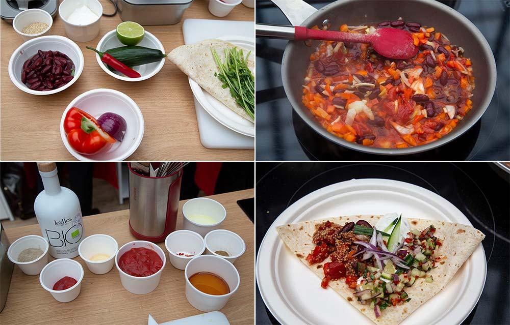 Les ingrédients, la cuisson et le superbe et appétissant tacos réalisé!