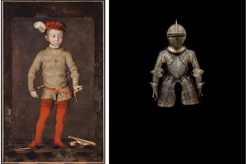 Portrait présumé d'Henri IV enfant © RMN-Grand Palais (Château de Pau) – RG. Demi-armure pour un enfant de la cour de France © Musée de l'Armée, Dist. RMN-Grand Palais – JY et N. Dubois