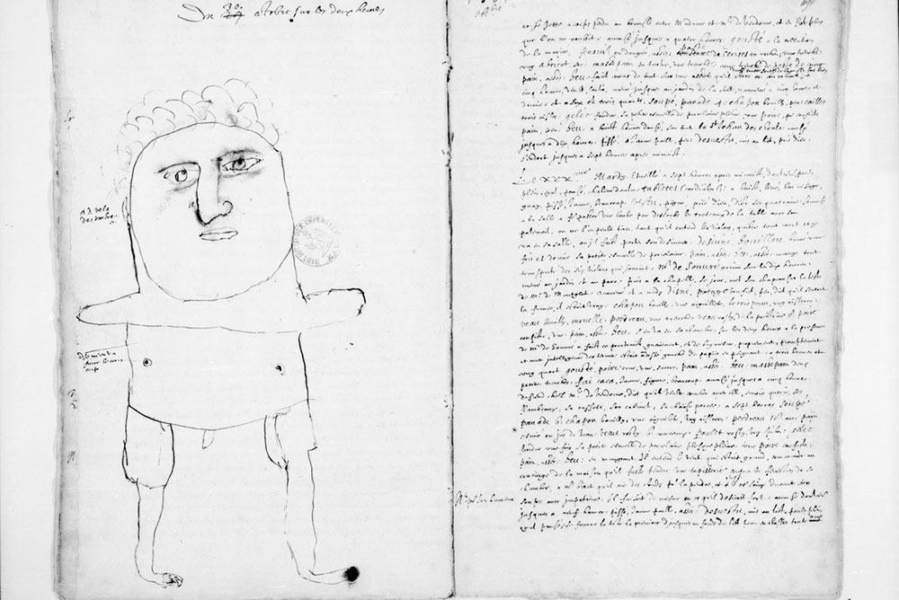 ean Héroard, Journal de la vie active du roy Louis [XIII], dessin de la main du petit Louis XIII © BnF.