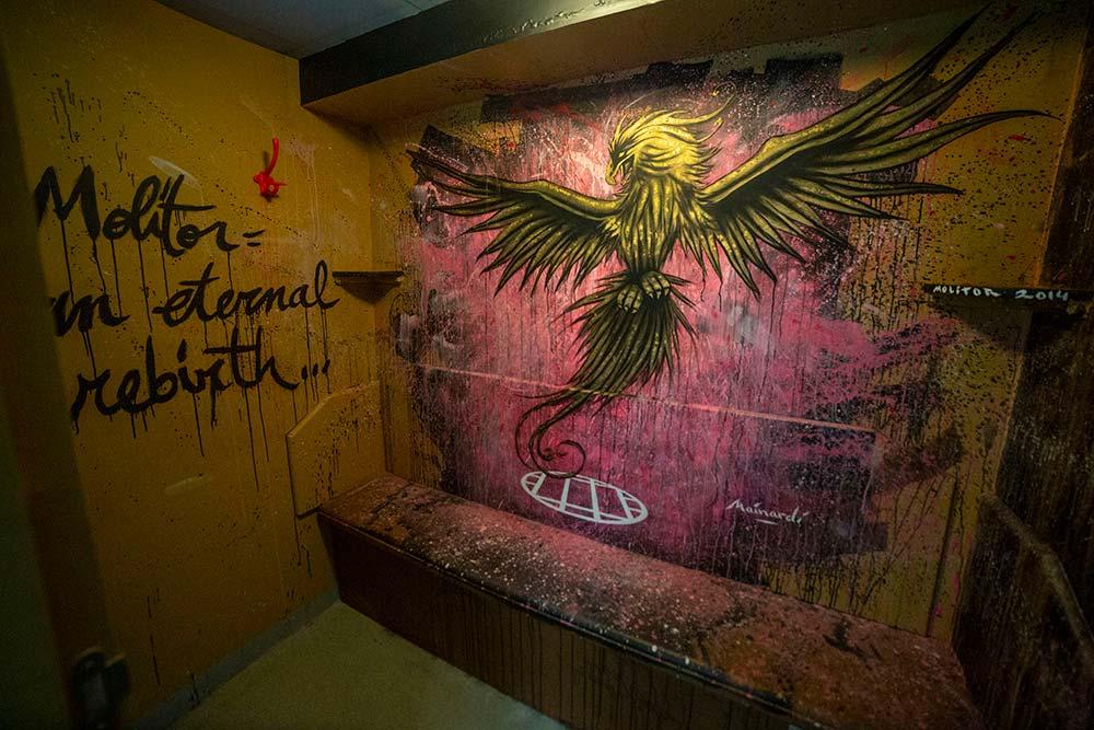 Thomas Mainardi, en cabine 182, salut le renouveau de Molitor, tel le phénix, oiseau mythique couvert de feuilles d'or!