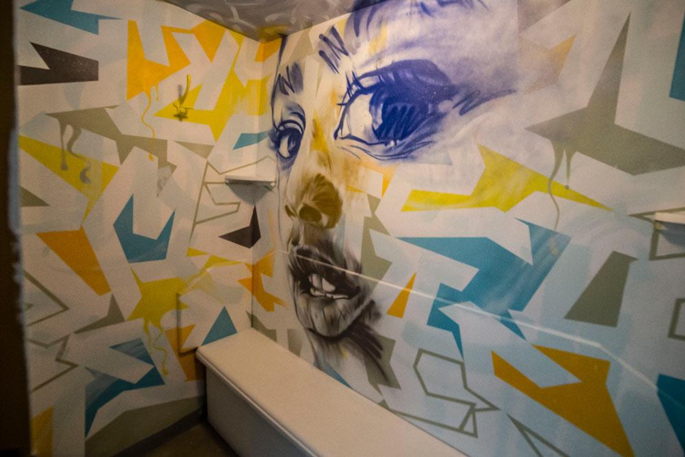 Tore fusionne lettres et portrait réalisé à partir de coups de bombe parfaitement maîtrisés, dans la cabine N°120.