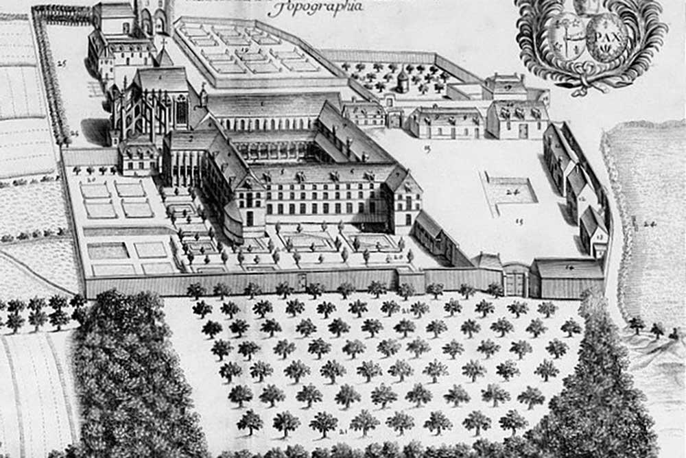 le Domaine de Thiron au XVIIe s. On y voit les bâtiments disparus: le cloître, l'abbatiale avec son chevet d'origine, sans le dôme XVIIIe, les jardins en carrés de l'abbaye et du collège.