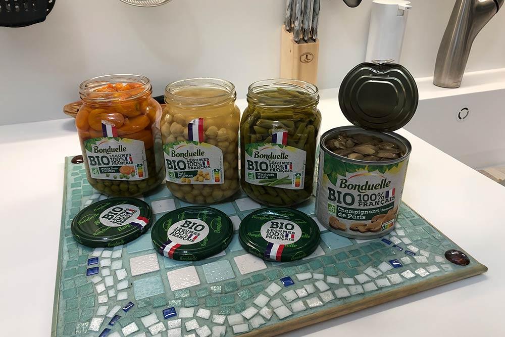Bonduelle : légumes bio en pots de verre