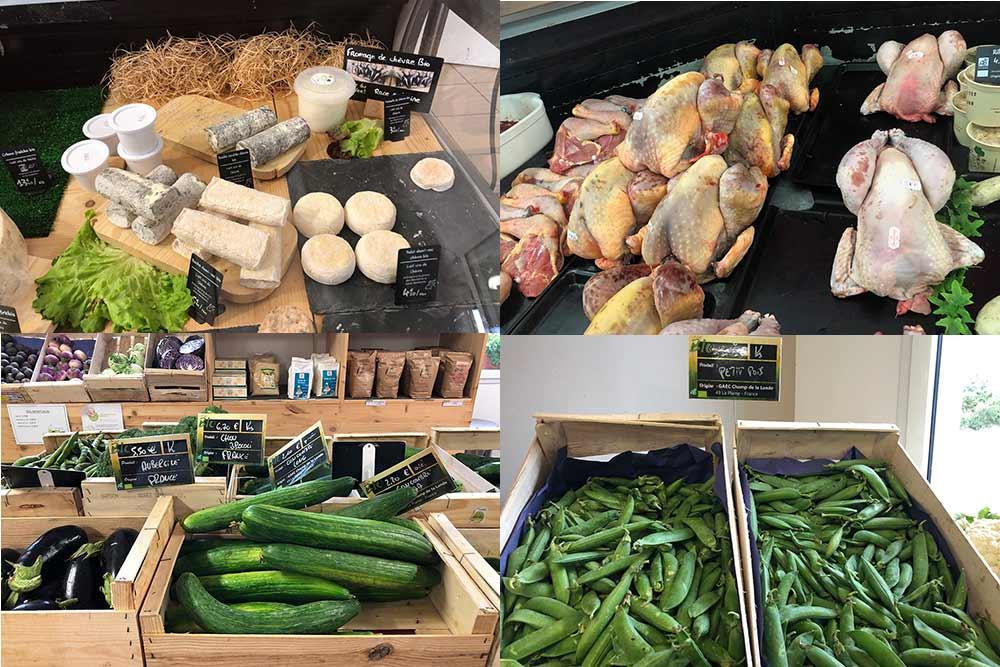 Fromages de chèvres bio, poulets bio et légumes bio