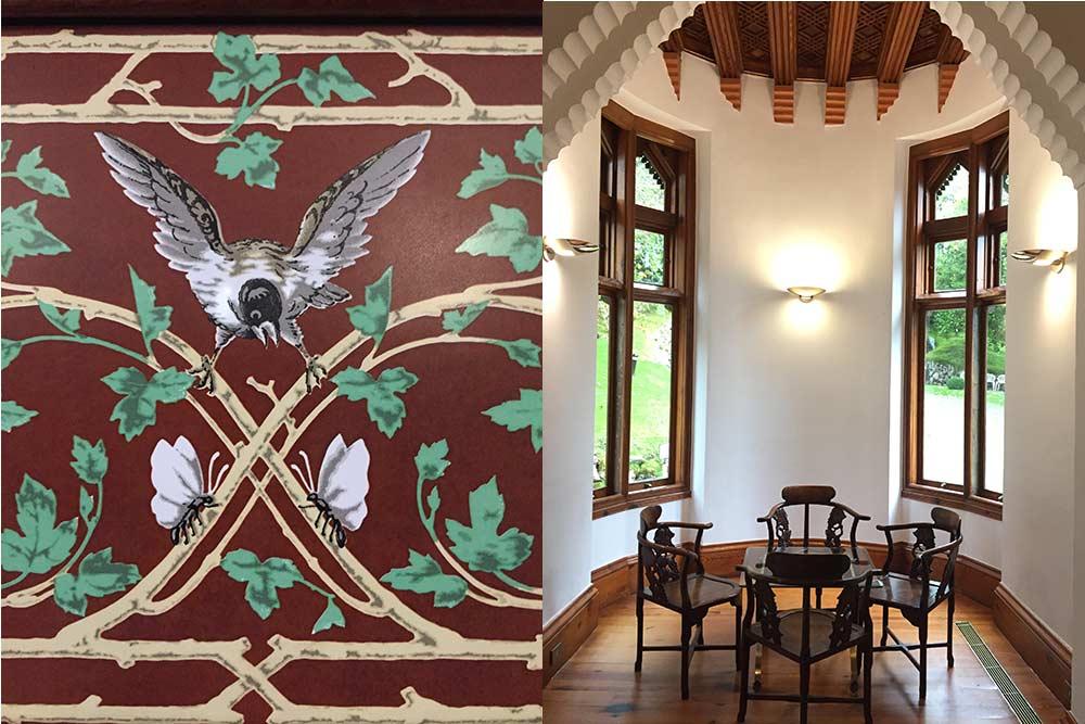 Carreau de céramique du Capricho d'Antoni Gaudi à Comillas et Petit salon du Capricho d'Antoni Gaudi à Comillas