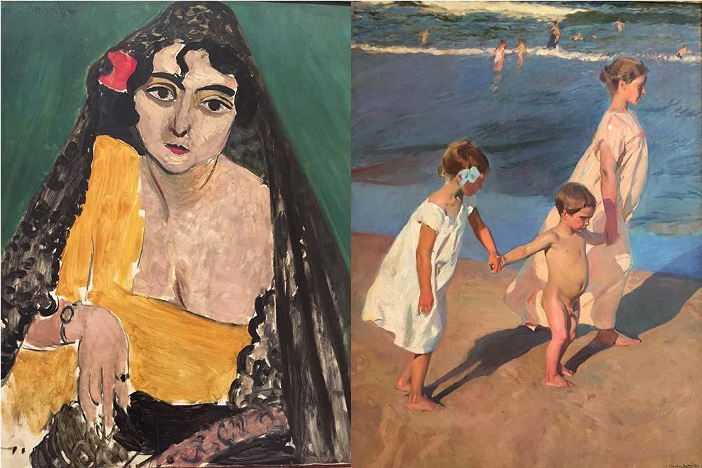 """Femme espagnole"" d'Henri Matisse et ""Au bain"" de Joaquim Sorolla"