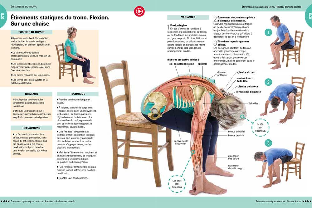 Etirements statiques du tronc et flexion sur une chaise.