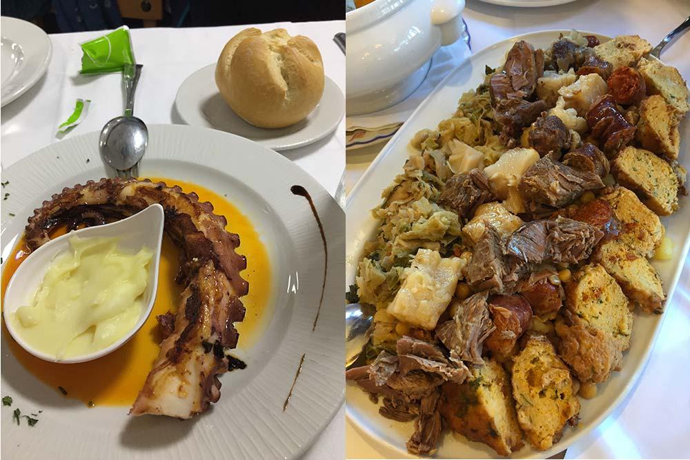 "Liébana - Poulpe grillé (Bodegon de San Vicente de la Barquera) et un beau plat de ""cocido lebaniego"" (Casa Cayo, Potes)"