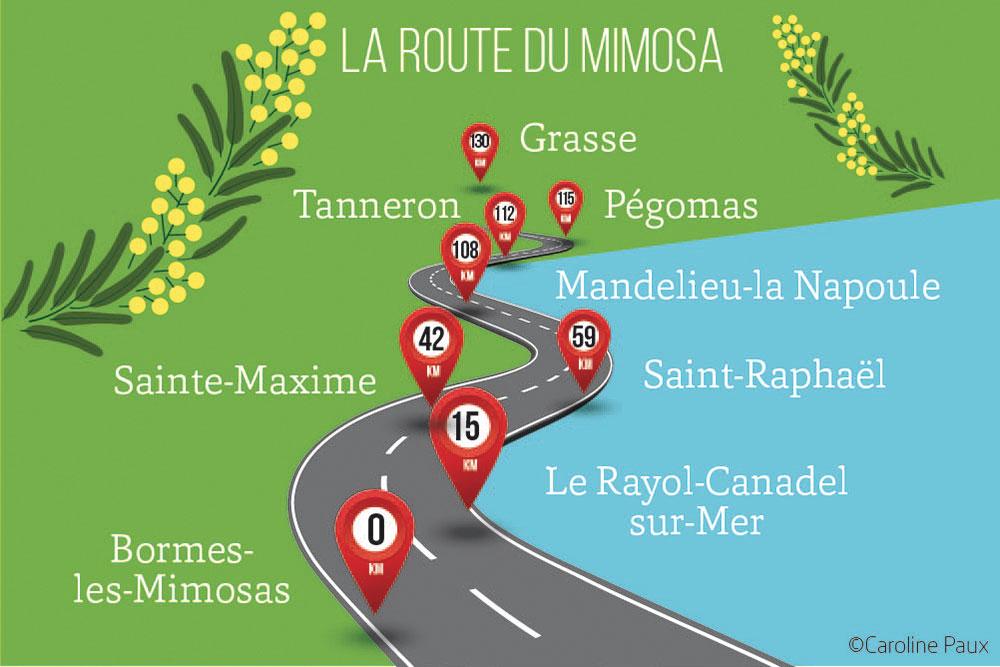 mimosa - Une route de 130 kilomètres en 8 étapes.