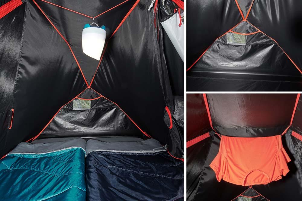 À l'intérieur de la tente, des pochettes de rangement, une cordelette pratique pour accrocher lampe ou linge.
