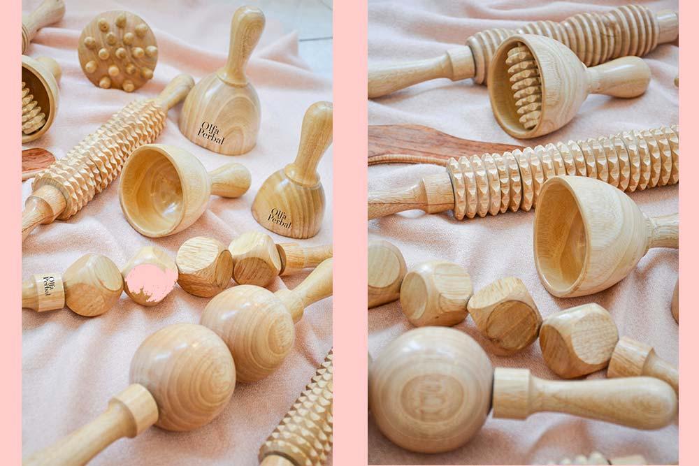 Accessoires en bois pour gommer la cellulite