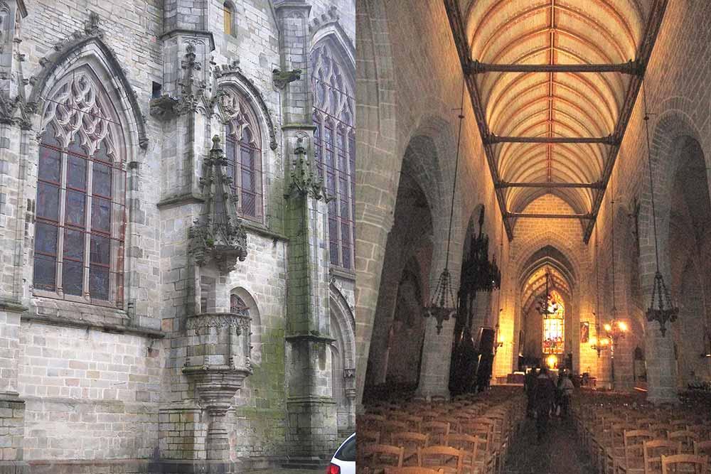 Côté sud de l'église Notre-Dame avec la chaire extérieure et sa Nef