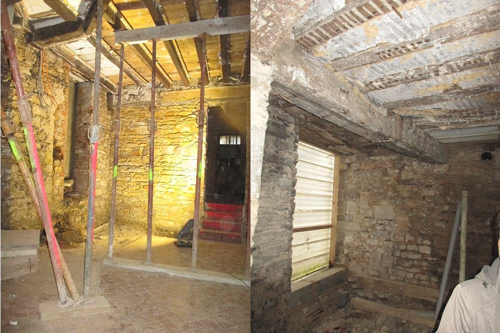 L'état du rez-de-chaussée de la maison en cours de restauration rue Bourg aux Moine plus plafond d'une maison en cours de restauration.
