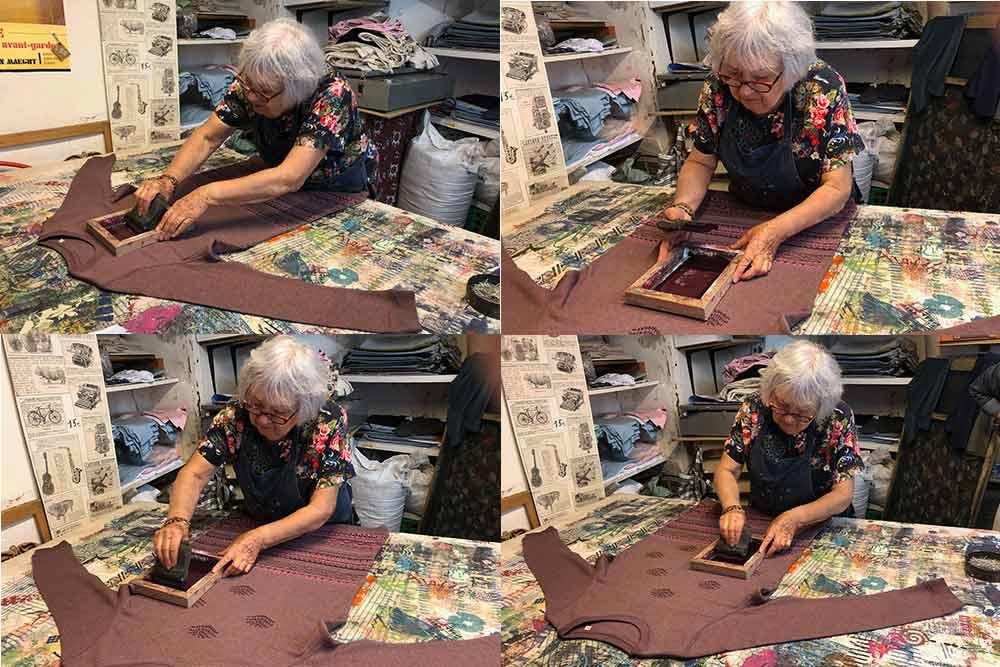 Sylviane Leibovitz fait des impressions à la main sur tissu