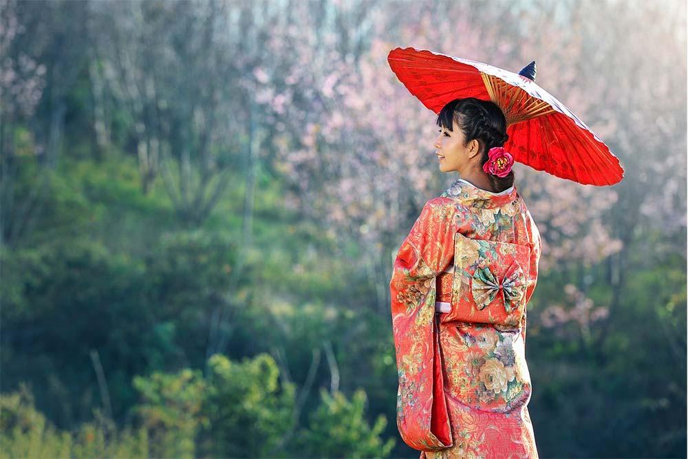 Japonaise dans la nature