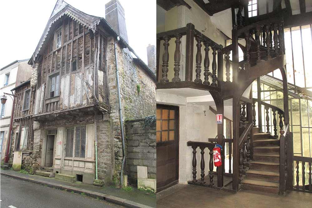 Maison en cours de restauration dans la rue du Bourg aux Moines et l'escalier restauré rue du Bourg aux Moines