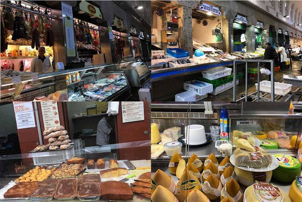 Stands sur le marché de Saint-Jacques de Compostelle