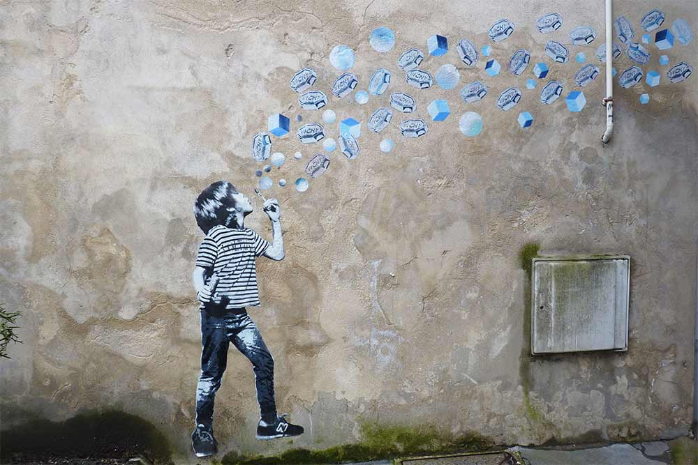 Œuvre de «street art» dans une ruelle