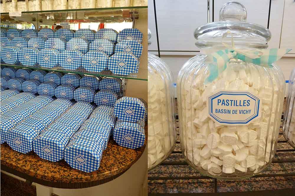 Boîtes et bocal de pastilles Vichy