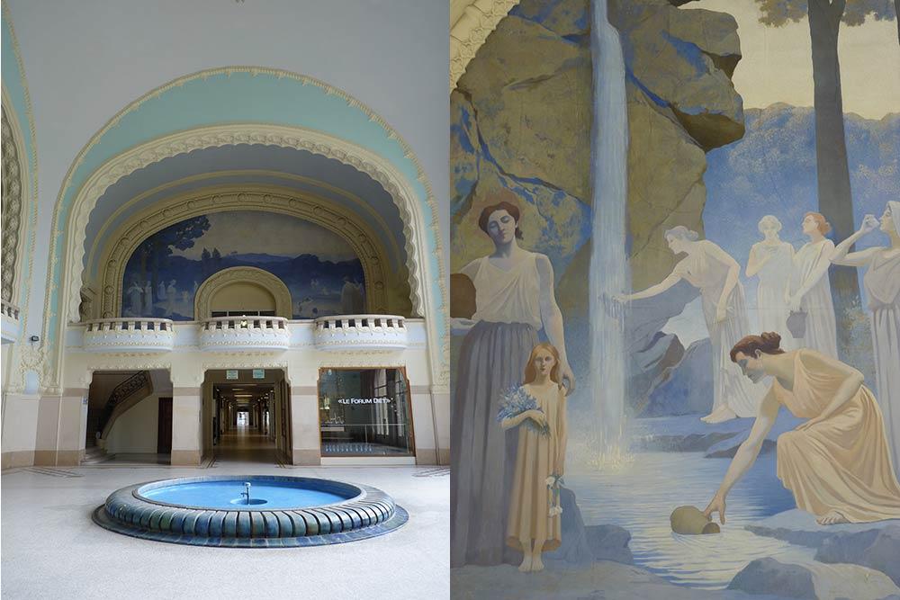 Le hall des thermes des Dômes et «La Source» par Alphonse Osbert