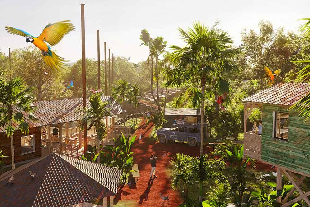 Parrot World - Le carbet (à gauche) au cœur du village.