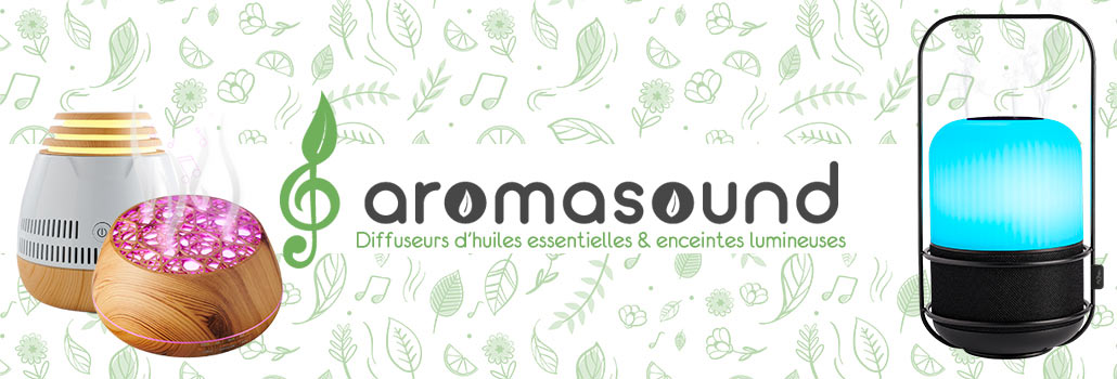 Aromasound : des diffuseurs d'huiles essentielles et enceintes lumineuses.