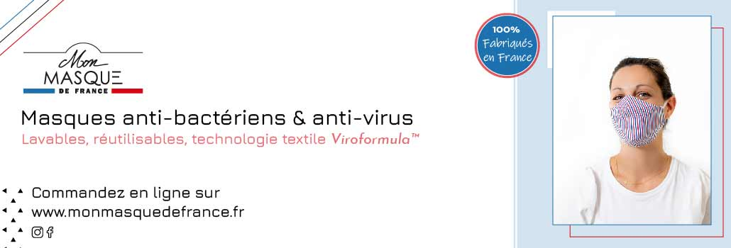 Mon Masque de France® propose des produits développés avec le traitement ViroformulaTM, une technologie textile inédite, brevetée anti-bactérien et anti-virus qui détruit les bactéries et les virus en 2 à 5 minutes… pour aller au-delà d'une protection filtrante.