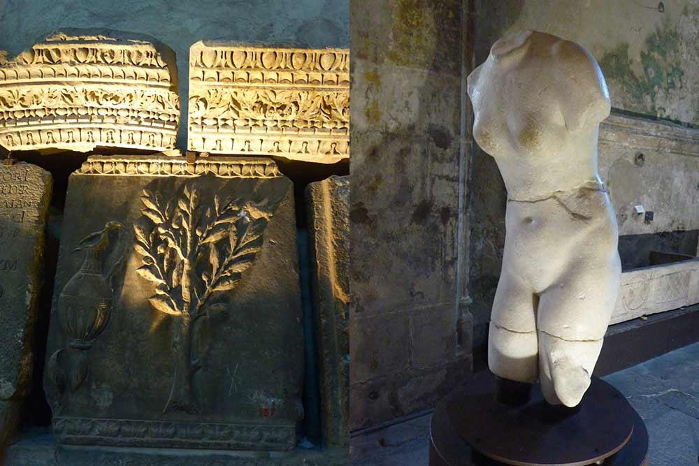 Pierres sculptées et Vénus au musée archéologique Saint-Pierre