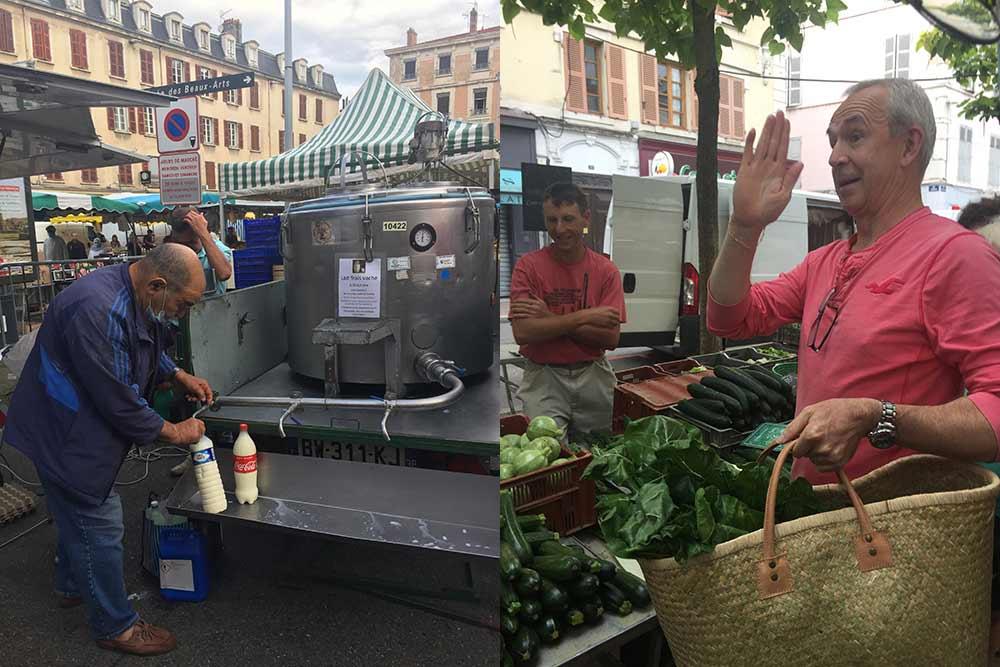 Le chef étoilé Philippe Girardon et un homme en train de se servir du lait